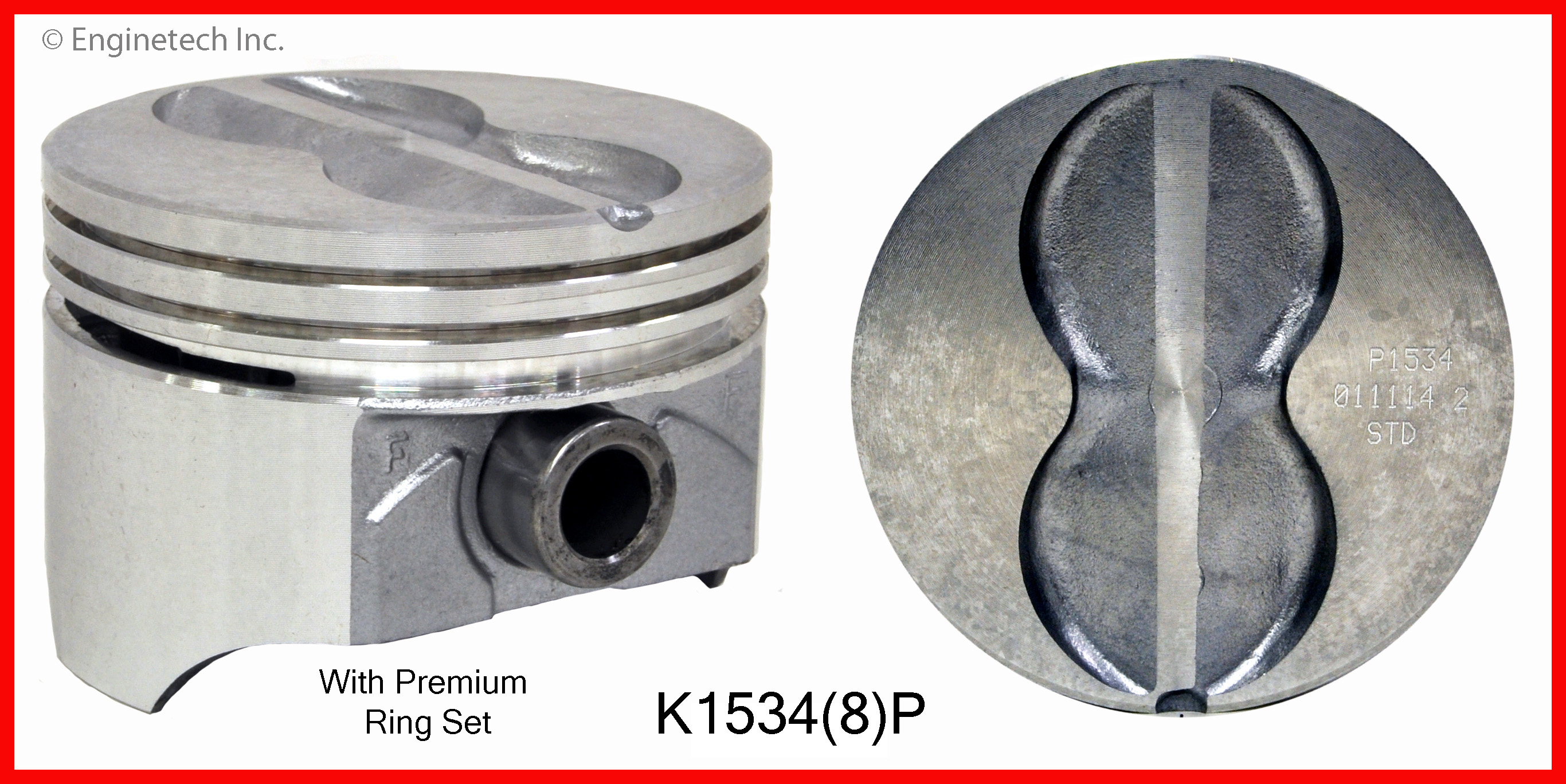 K1534(8)P Piston And Ring Kit Enginetech